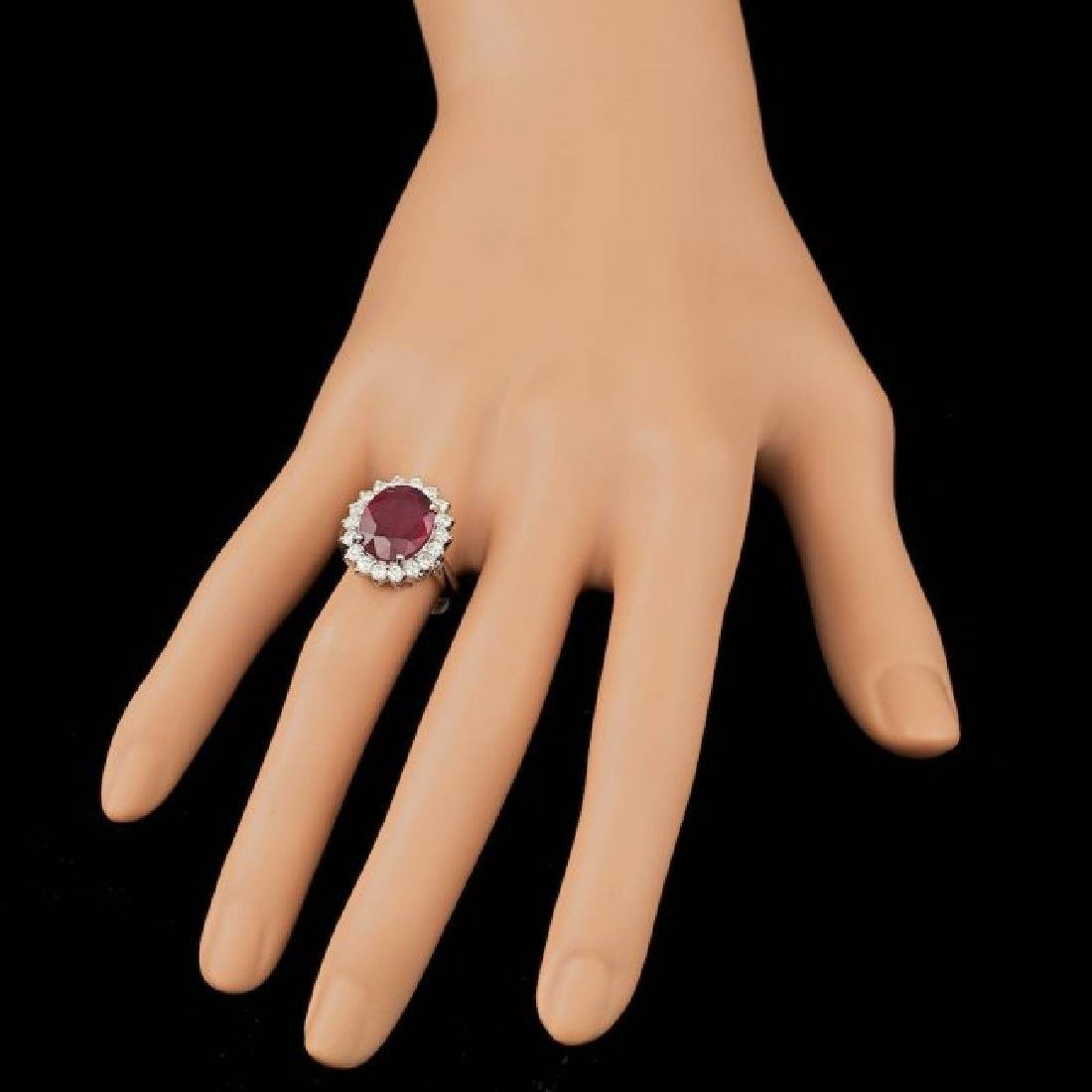14k White Gold 5.00ct Ruby 0.85ct Diamond Ring - 4