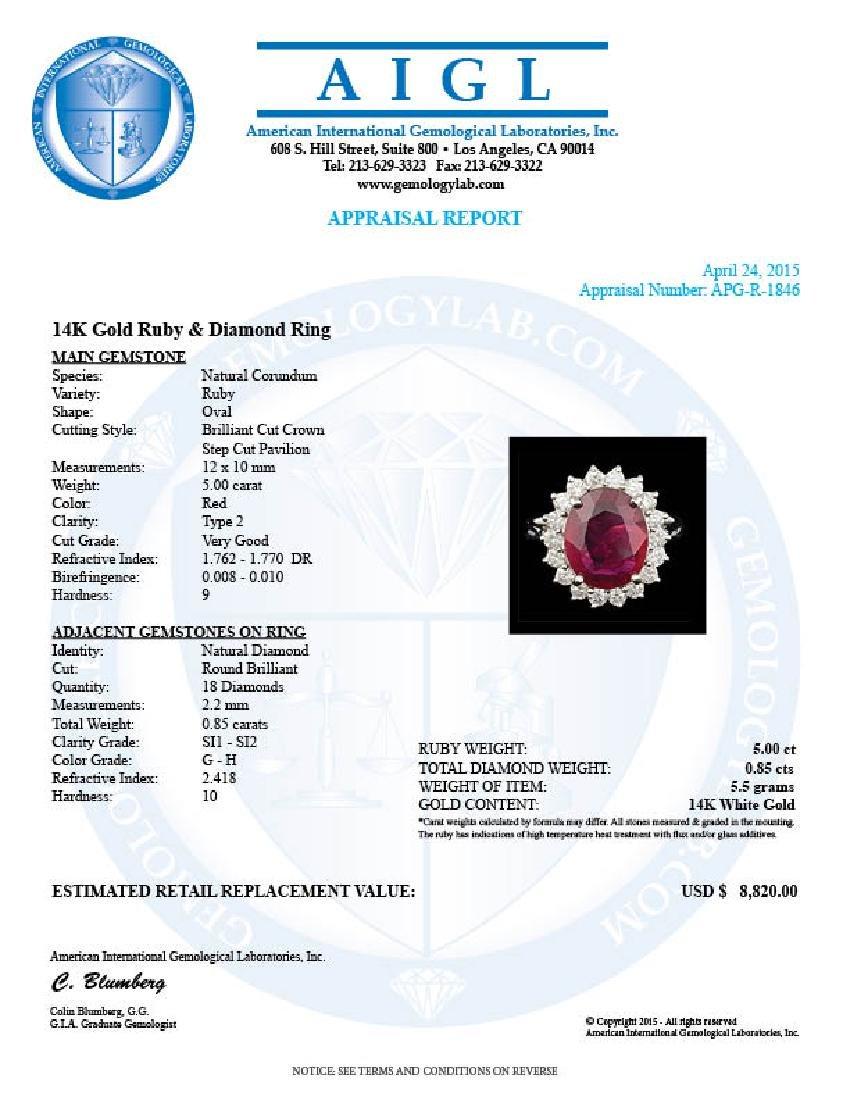14k White Gold 5.00ct Ruby 0.85ct Diamond Ring - 5