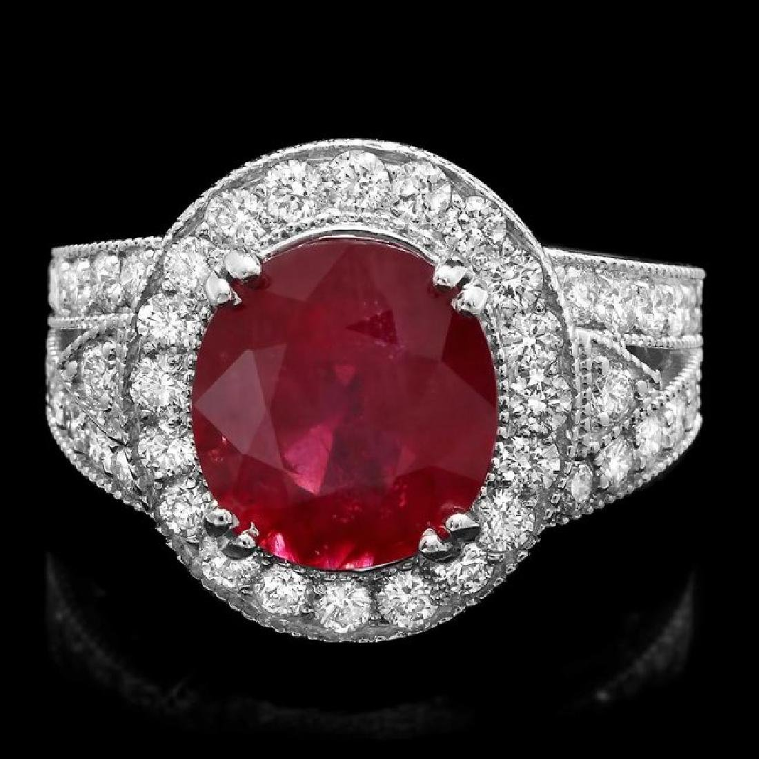 14k White Gold 6.00ct Ruby 1.60ct Diamond Ring
