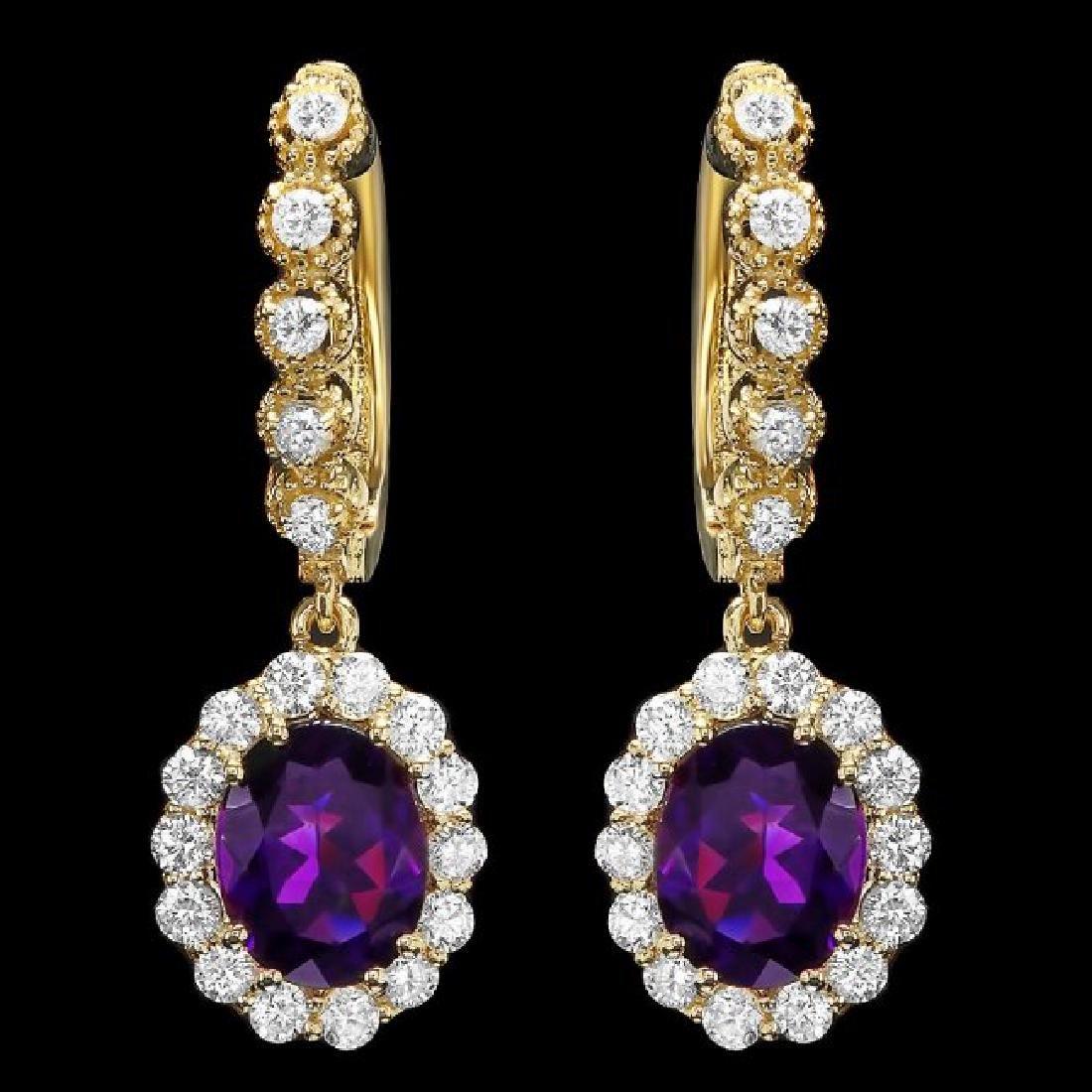 14k Gold 3.70ct Amethyst 1.30ct Diamond Earrings