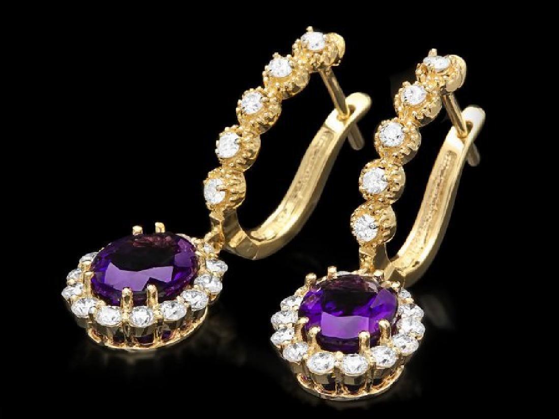14k Gold 3.70ct Amethyst 1.30ct Diamond Earrings - 2