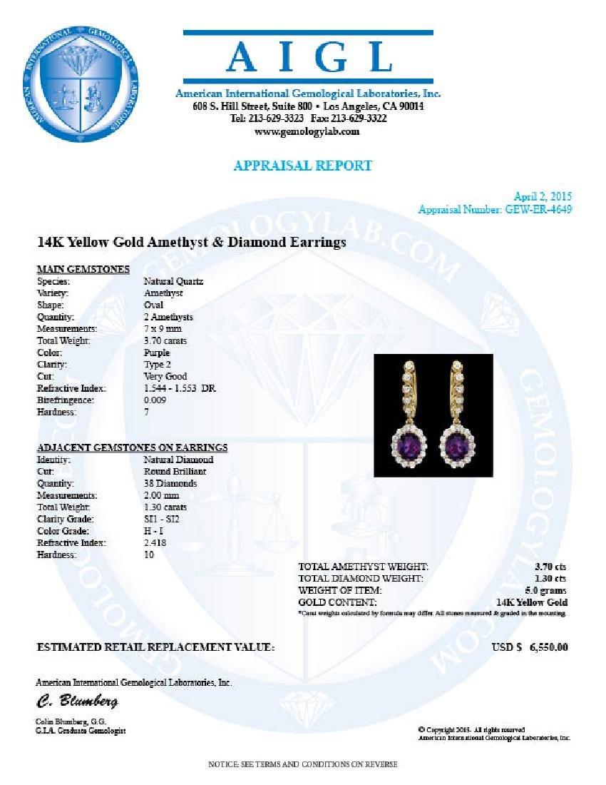 14k Gold 3.70ct Amethyst 1.30ct Diamond Earrings - 3