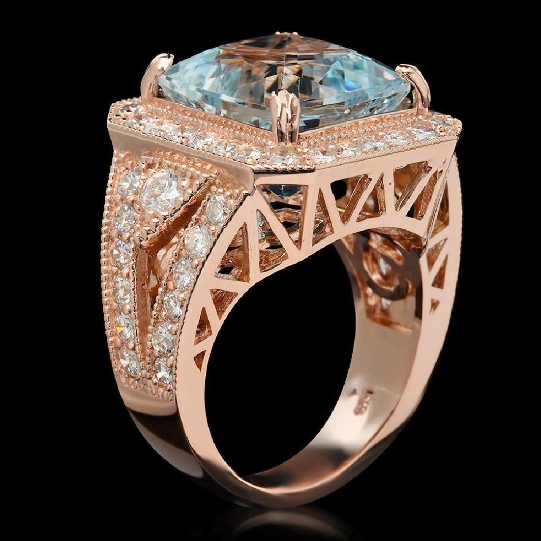 14K Gold 9.48ct Aquamarine & 2.10ct Diamond Ring - 2
