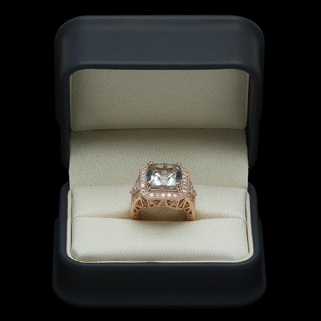 14K Gold 9.48ct Aquamarine & 2.10ct Diamond Ring - 4