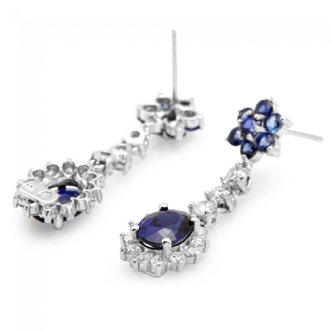 14k Gold 4.5ct Sapphire 1.40ct Diamond Earrings - 2