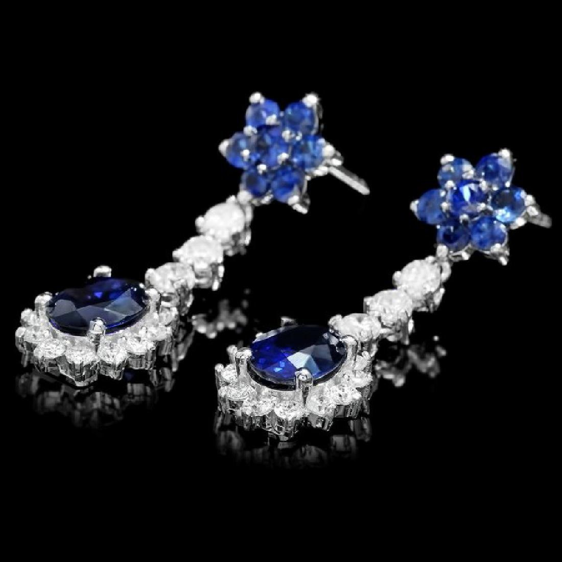 14k Gold 4.5ct Sapphire 1.40ct Diamond Earrings - 3