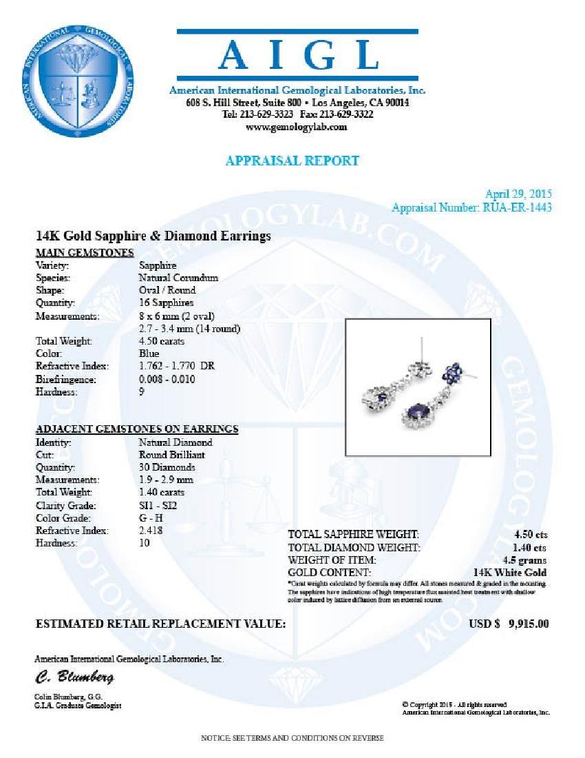 14k Gold 4.5ct Sapphire 1.40ct Diamond Earrings - 4
