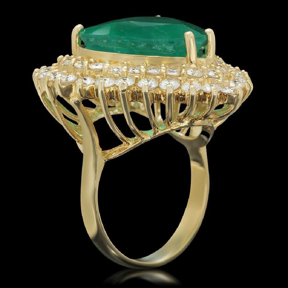 14K Gold 11.09ct Emerald 2.83ct Diamond Ring - 2