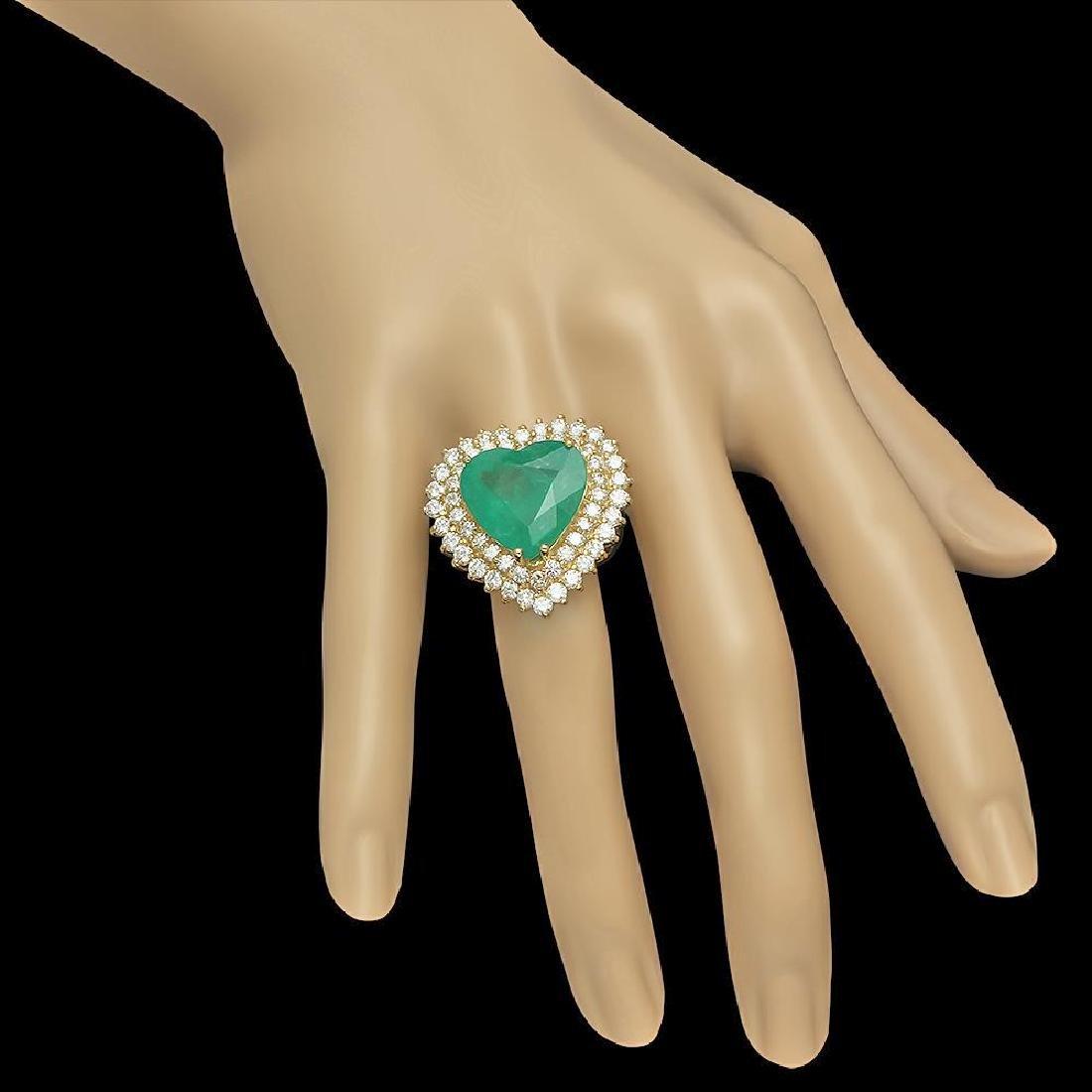 14K Gold 11.09ct Emerald 2.83ct Diamond Ring - 3