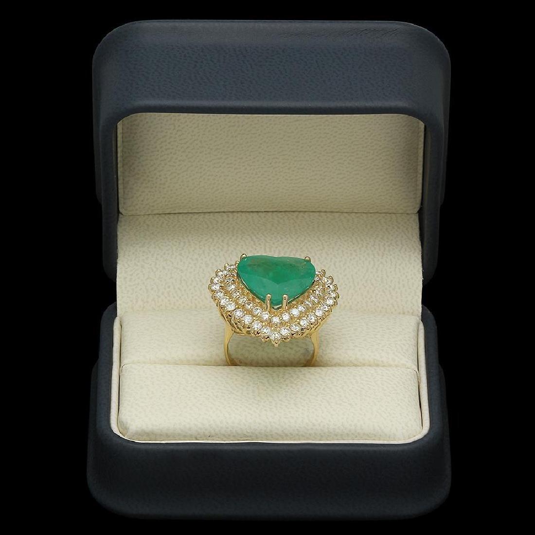 14K Gold 11.09ct Emerald 2.83ct Diamond Ring - 4