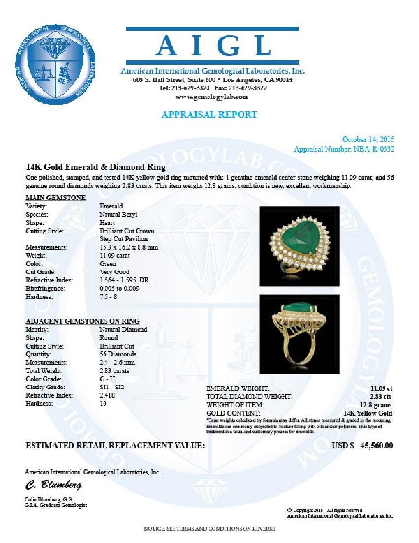 14K Gold 11.09ct Emerald 2.83ct Diamond Ring - 5