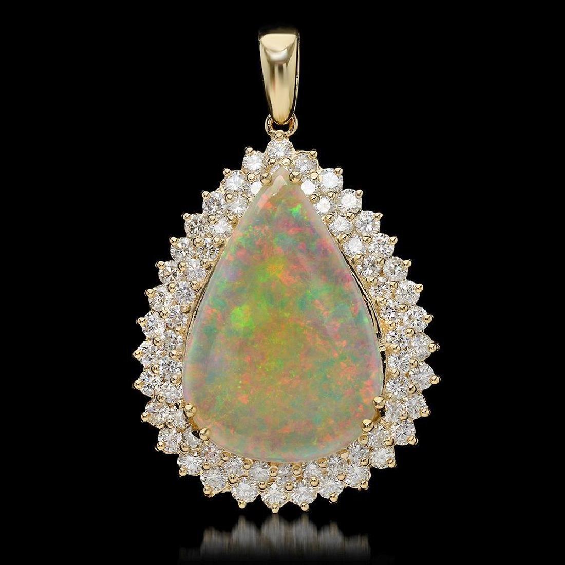 14K Gold 7.12ct Opal & 2.03ct Diamond Pendant