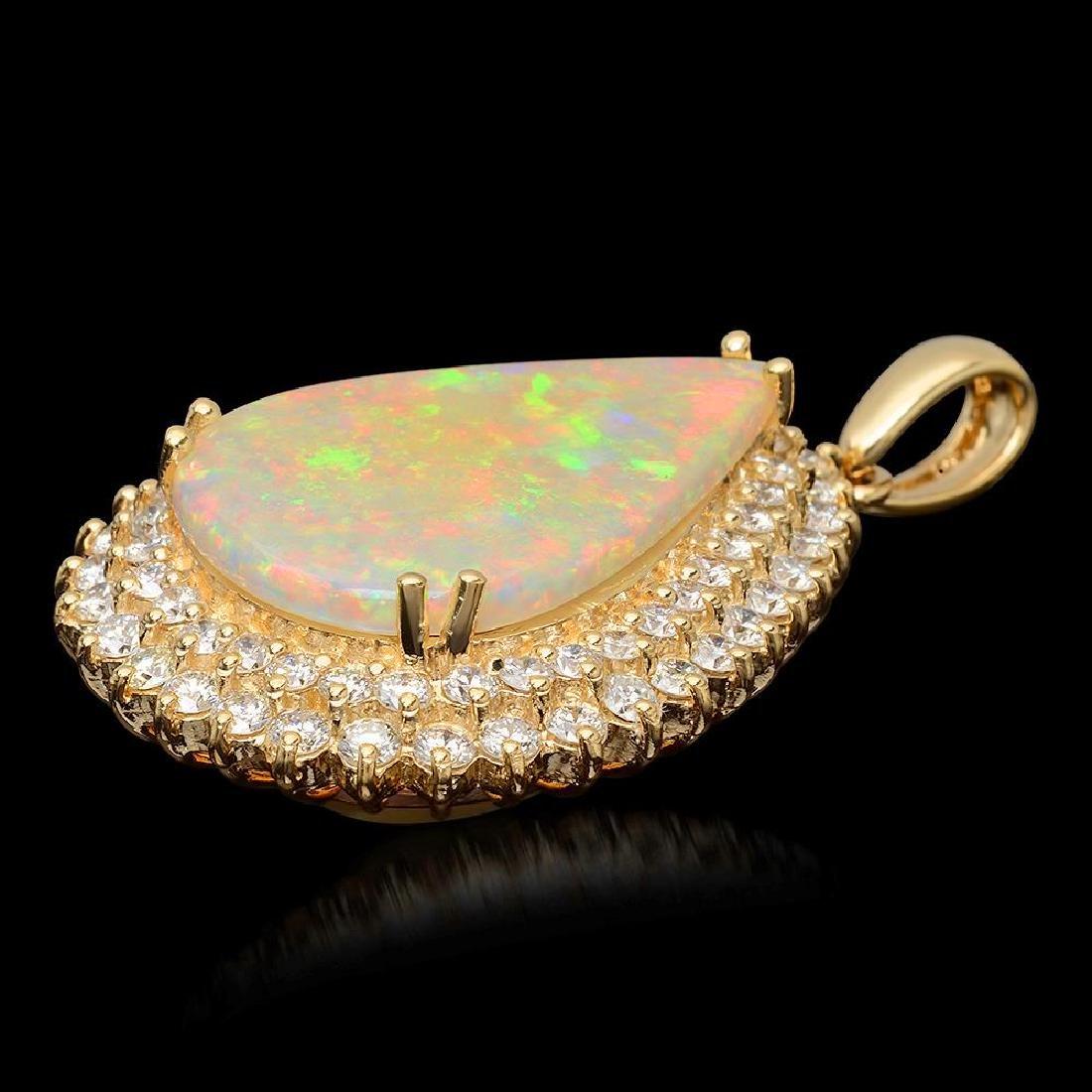 14K Gold 7.12ct Opal & 2.03ct Diamond Pendant - 2