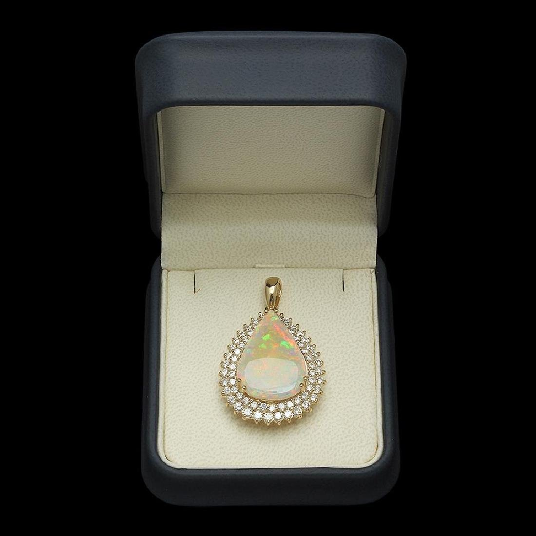 14K Gold 7.12ct Opal & 2.03ct Diamond Pendant - 3