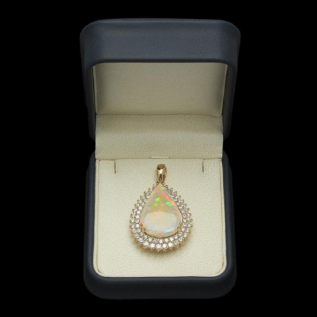 14K Gold 7.12ct Opal & 2.03ct Diamond Pendant - 3