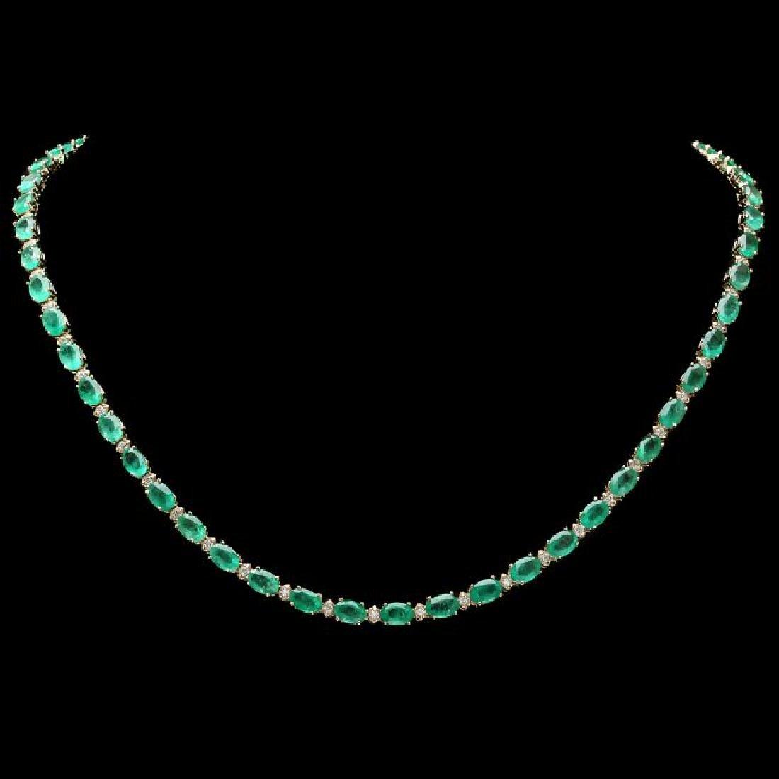 14k Gold 18.00ct Emerald 1.00ct Diamond Necklace