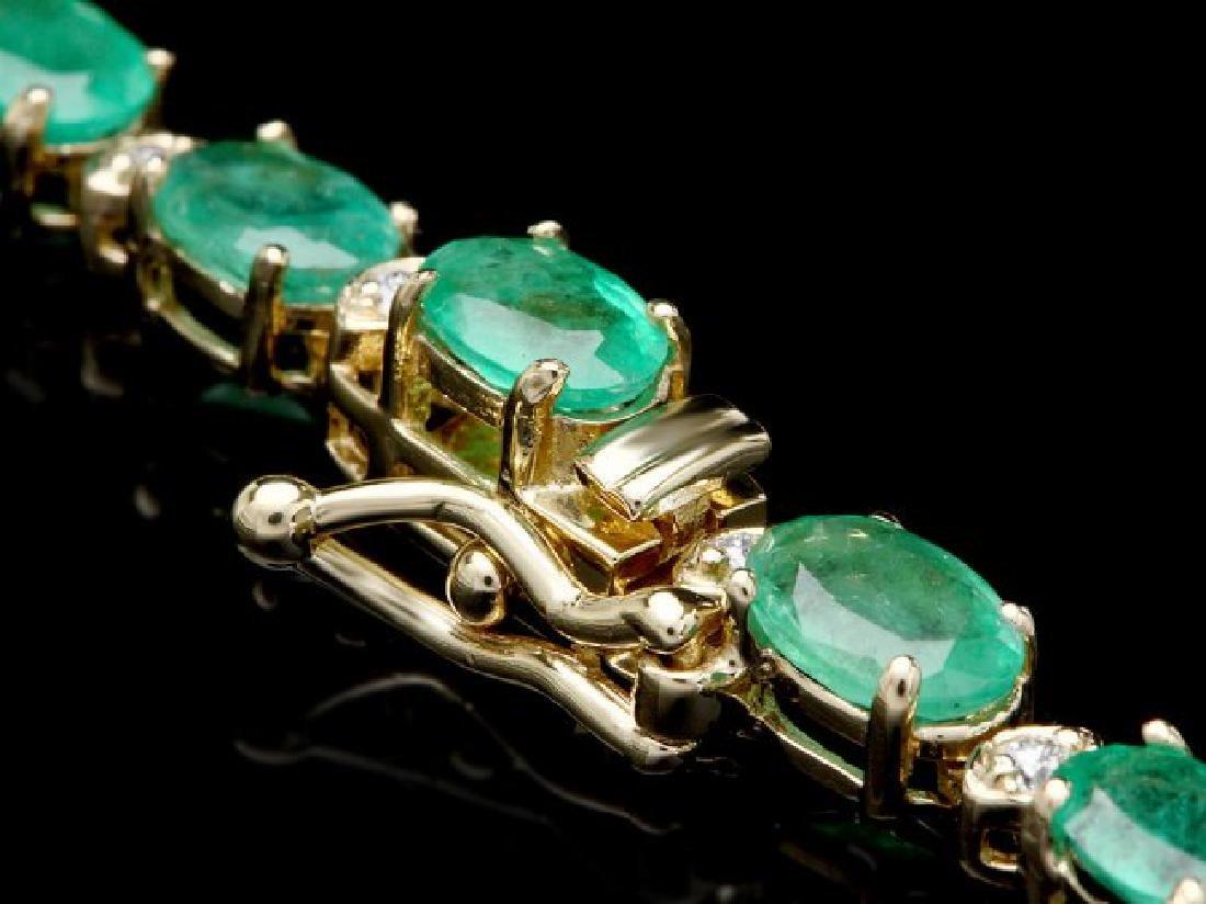 14k Gold 18.00ct Emerald 1.00ct Diamond Necklace - 3