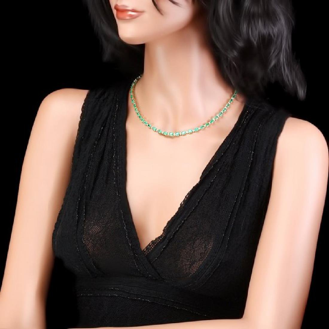 14k Gold 18.00ct Emerald 1.00ct Diamond Necklace - 4