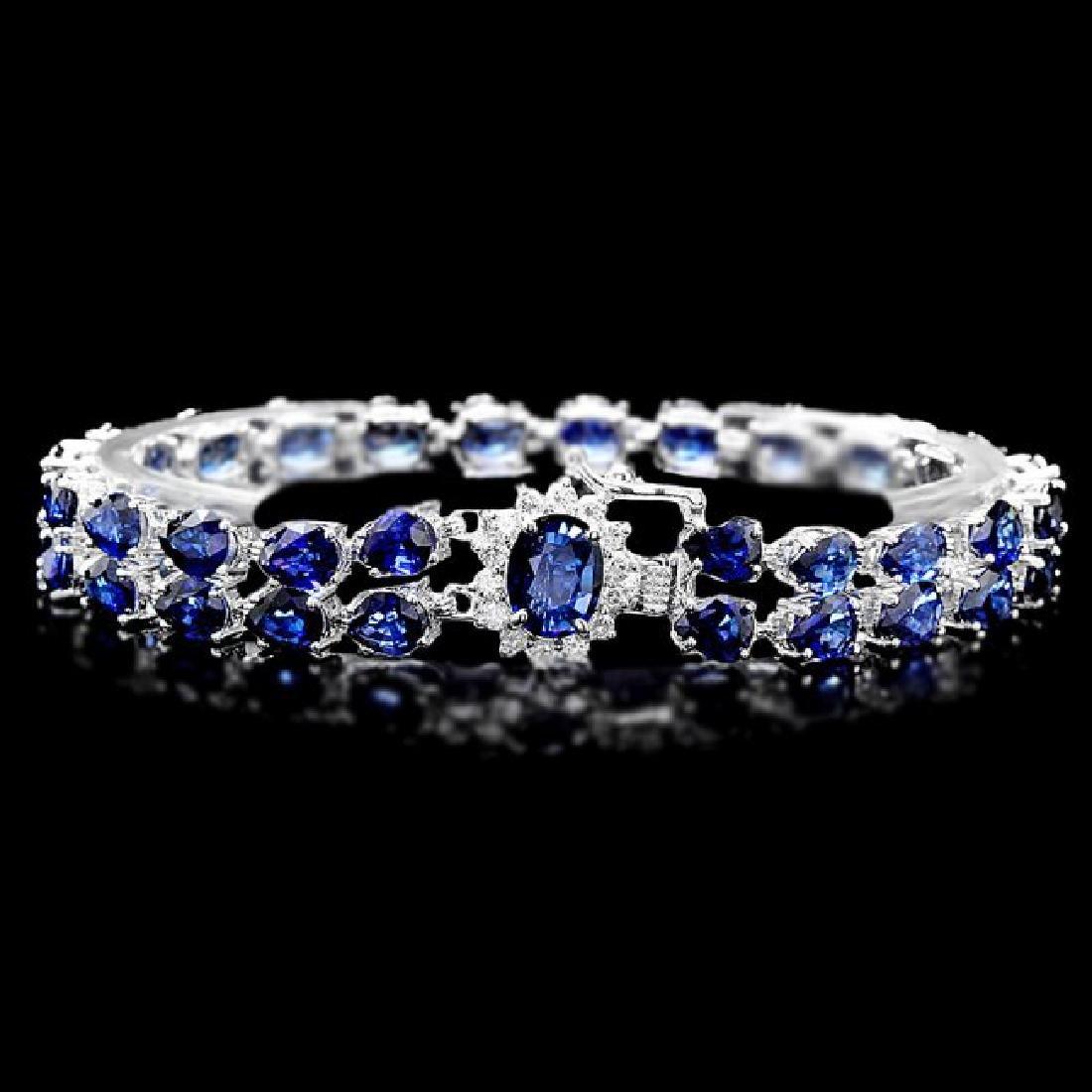 14k Gold 26ct Sapphire 0.60ct Diamond Bracelet