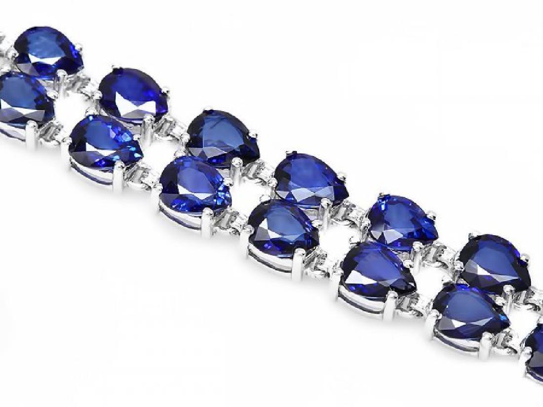 14k Gold 26ct Sapphire 0.60ct Diamond Bracelet - 2