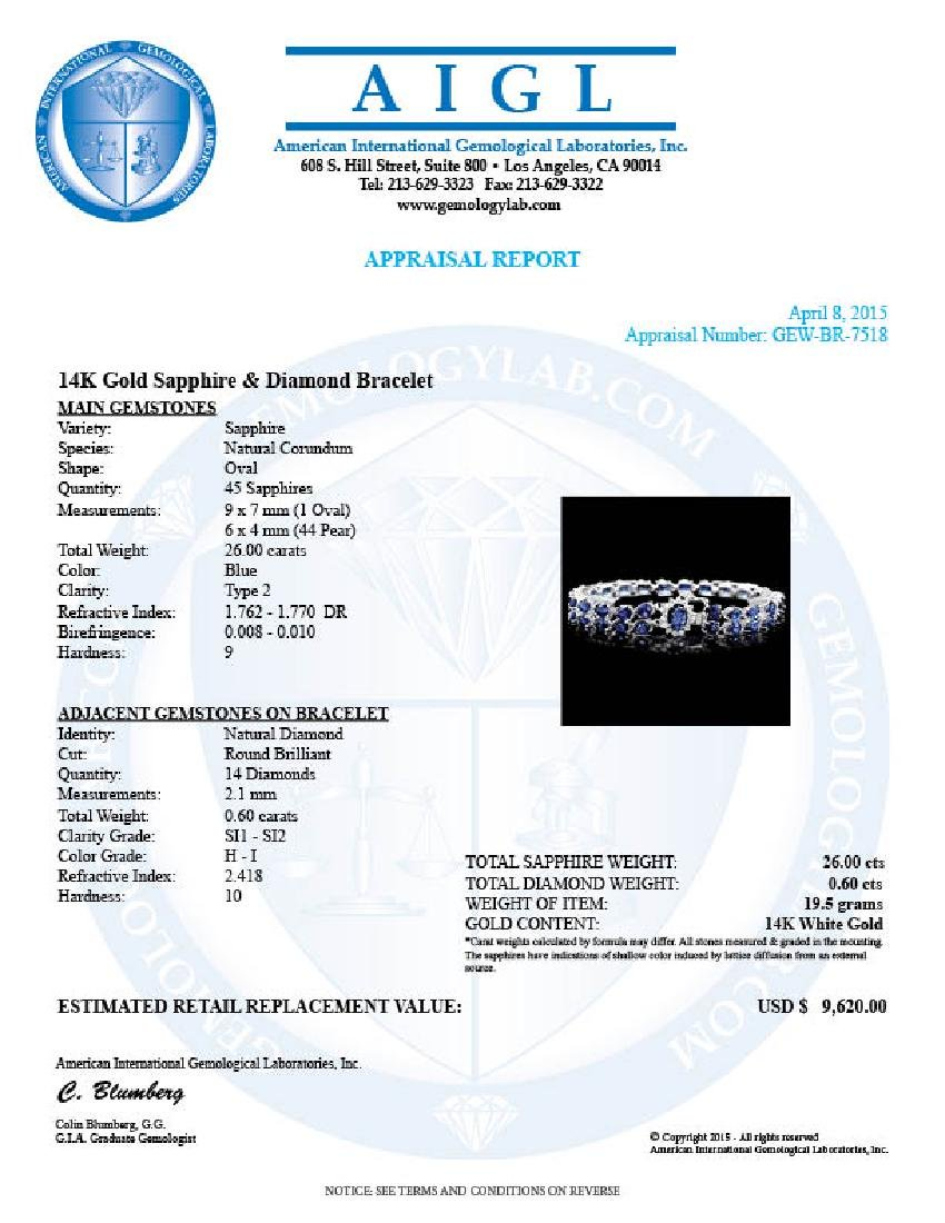 14k Gold 26ct Sapphire 0.60ct Diamond Bracelet - 6