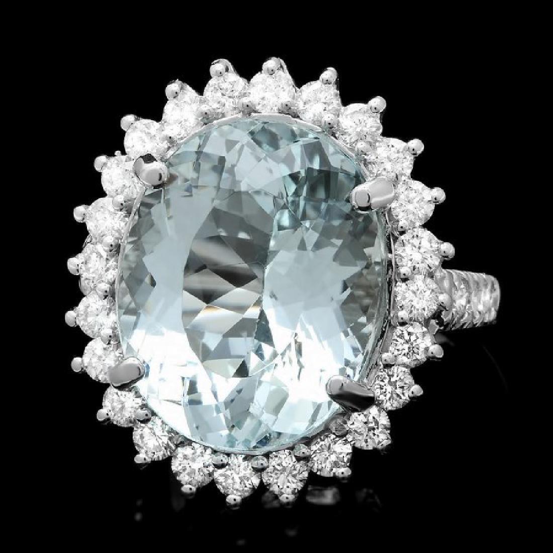 14k Gold 11.50ct Aquamarine 1.70ct Diamond Ring