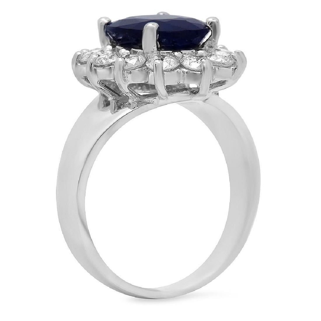 14K Gold 3.00ct Sapphire 0.90ct Diamond Ring - 2