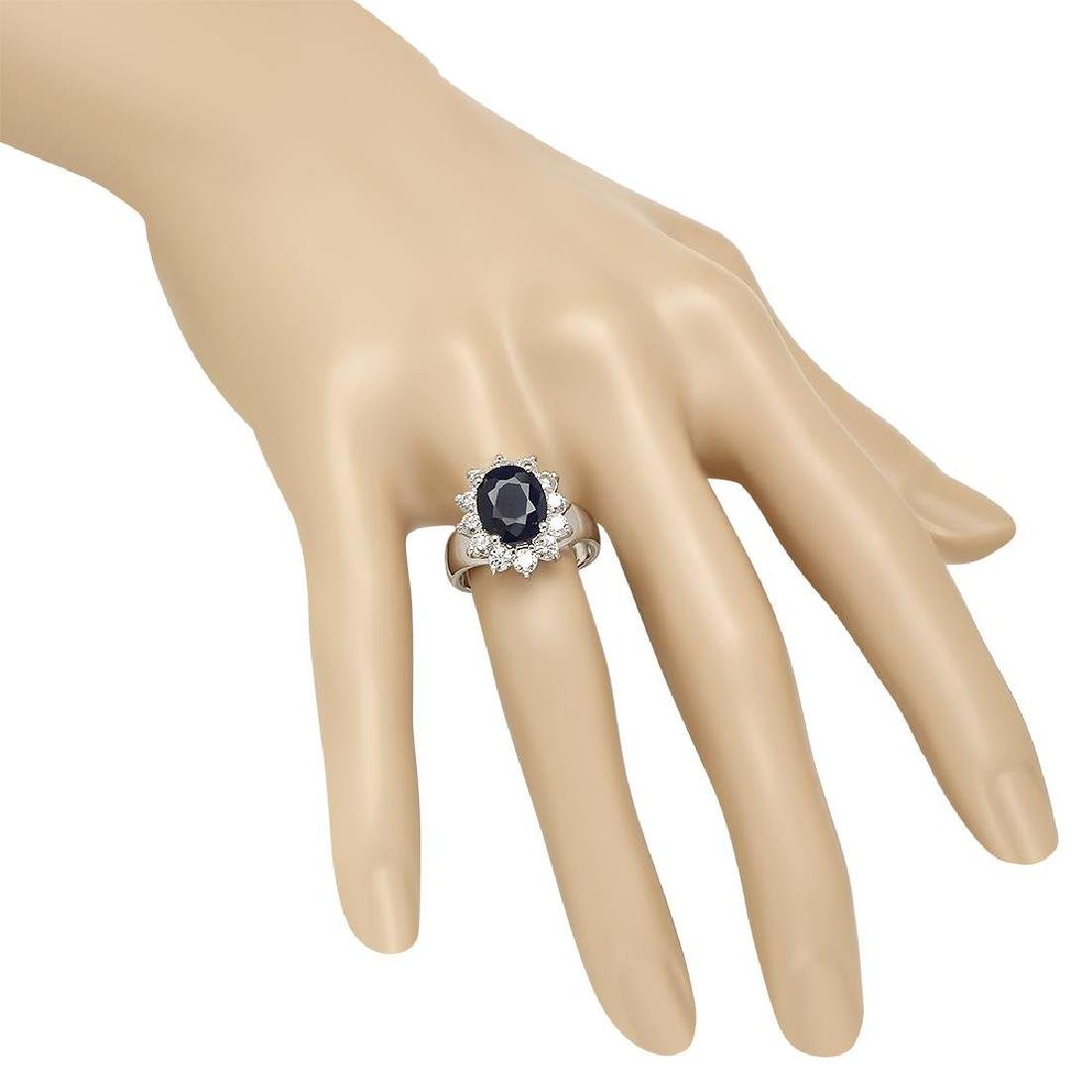 14K Gold 3.00ct Sapphire 0.90ct Diamond Ring - 3