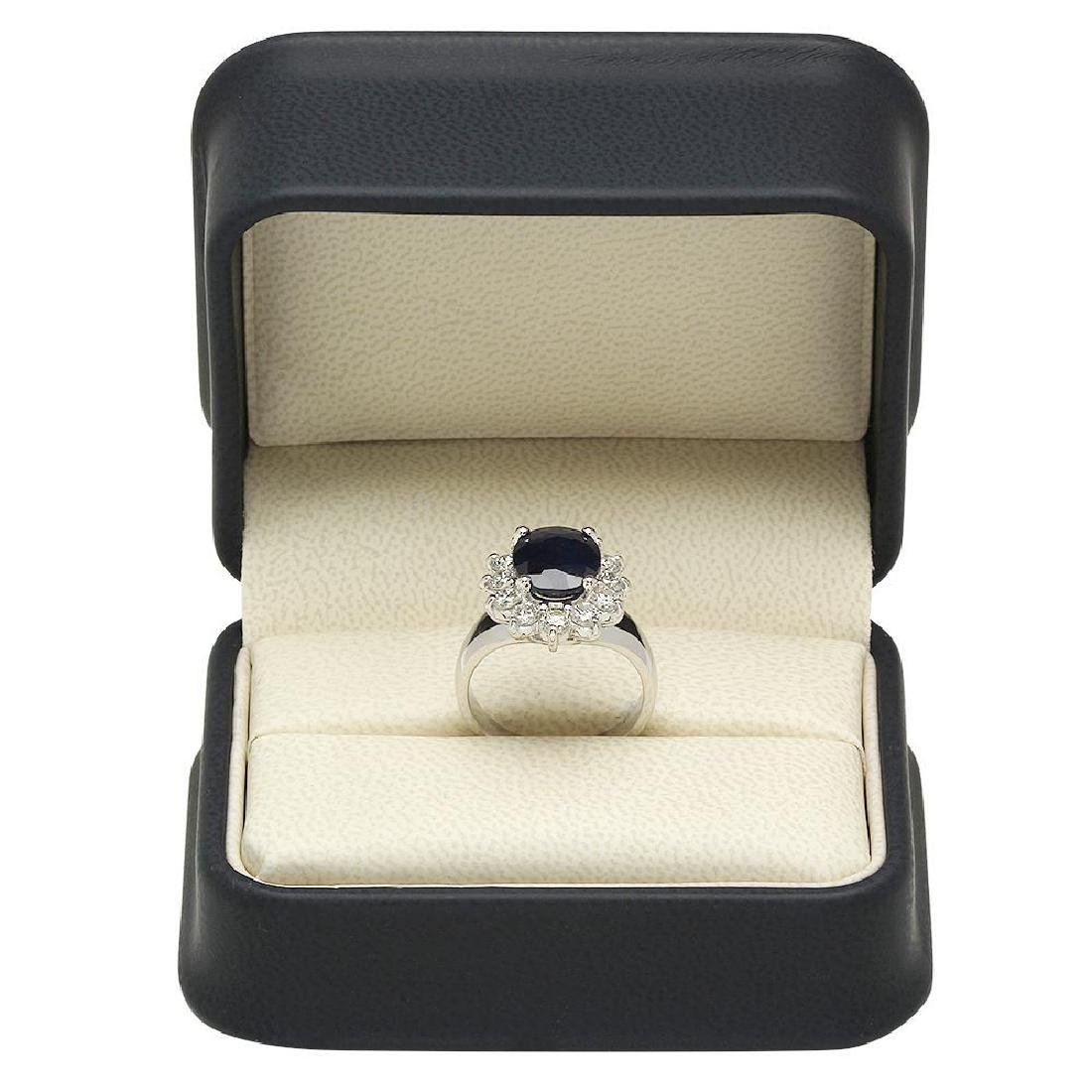 14K Gold 3.00ct Sapphire 0.90ct Diamond Ring - 4