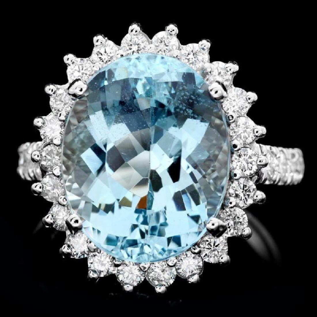 14k Gold 7.50ct Aquamarine 1.00ct Diamond Ring