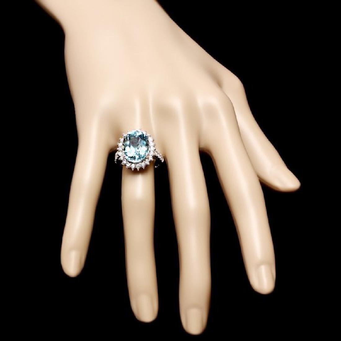 14k Gold 7.50ct Aquamarine 1.00ct Diamond Ring - 4