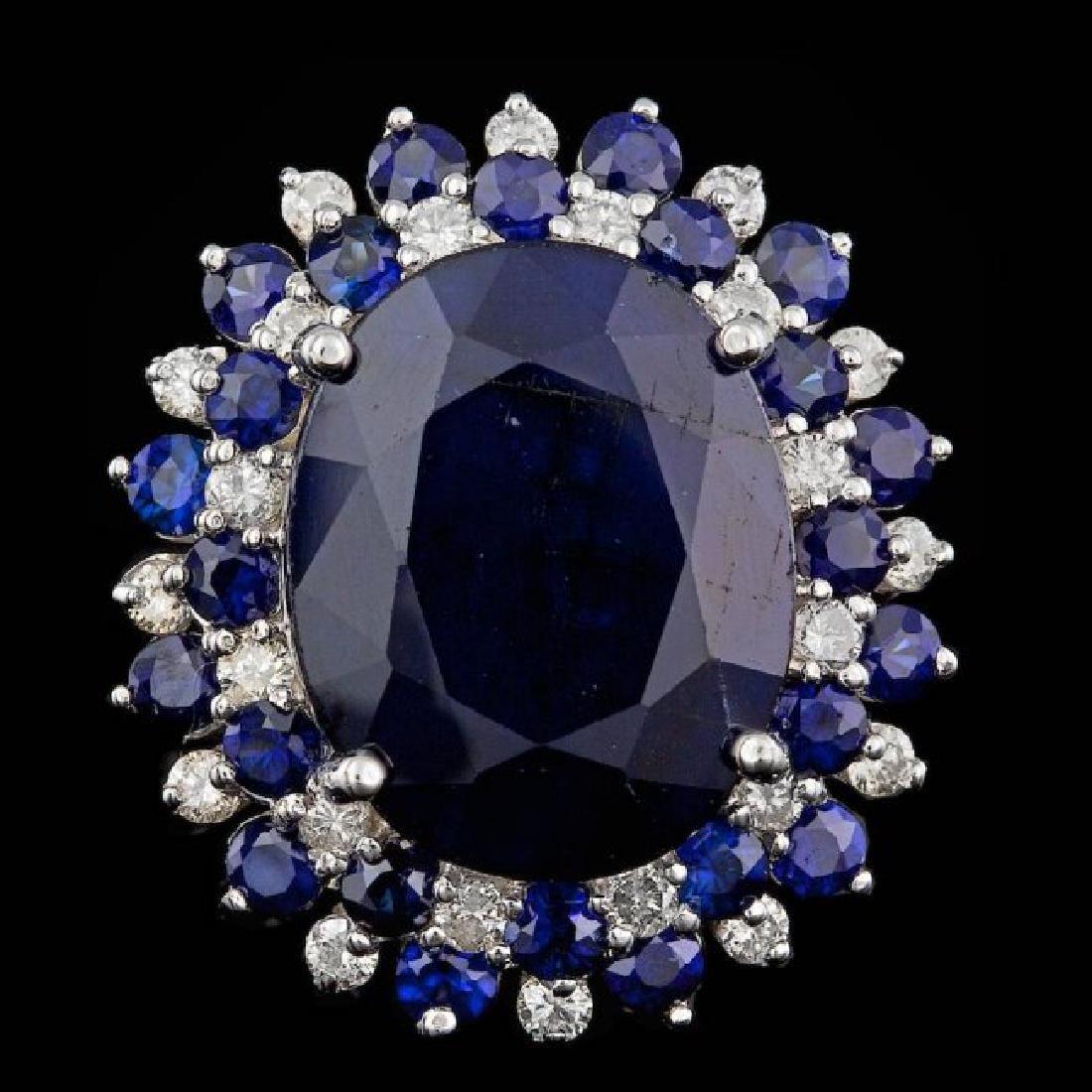 14k White Gold 13ct Sapphire 0.50ct Diamond Ring