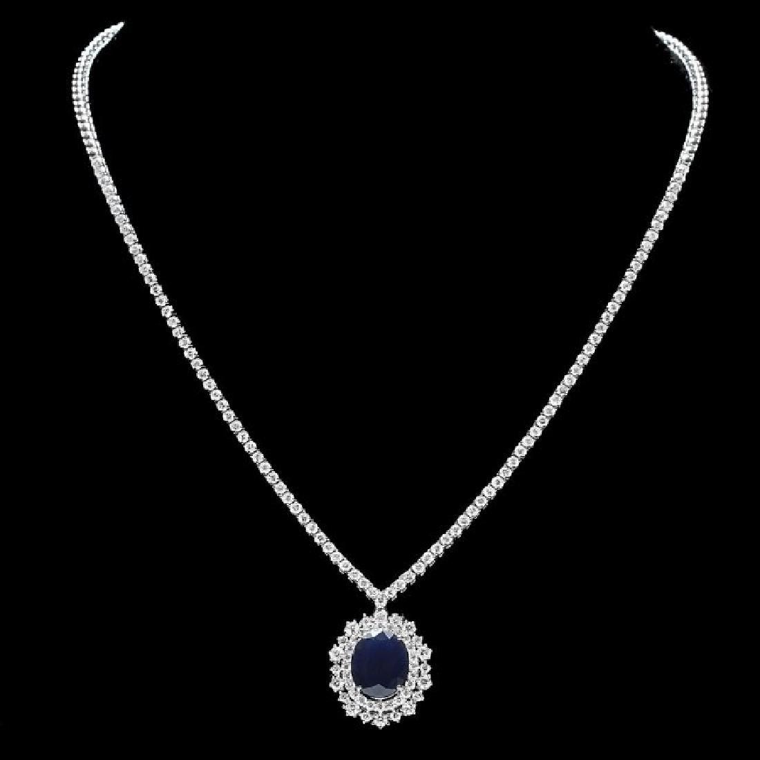 18k Gold 6ct Sapphire 5.00ct Diamond Necklace
