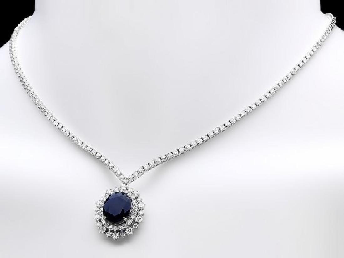 18k Gold 6ct Sapphire 5.00ct Diamond Necklace - 2