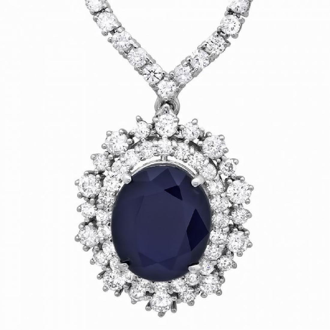 18k Gold 6ct Sapphire 5.00ct Diamond Necklace - 3