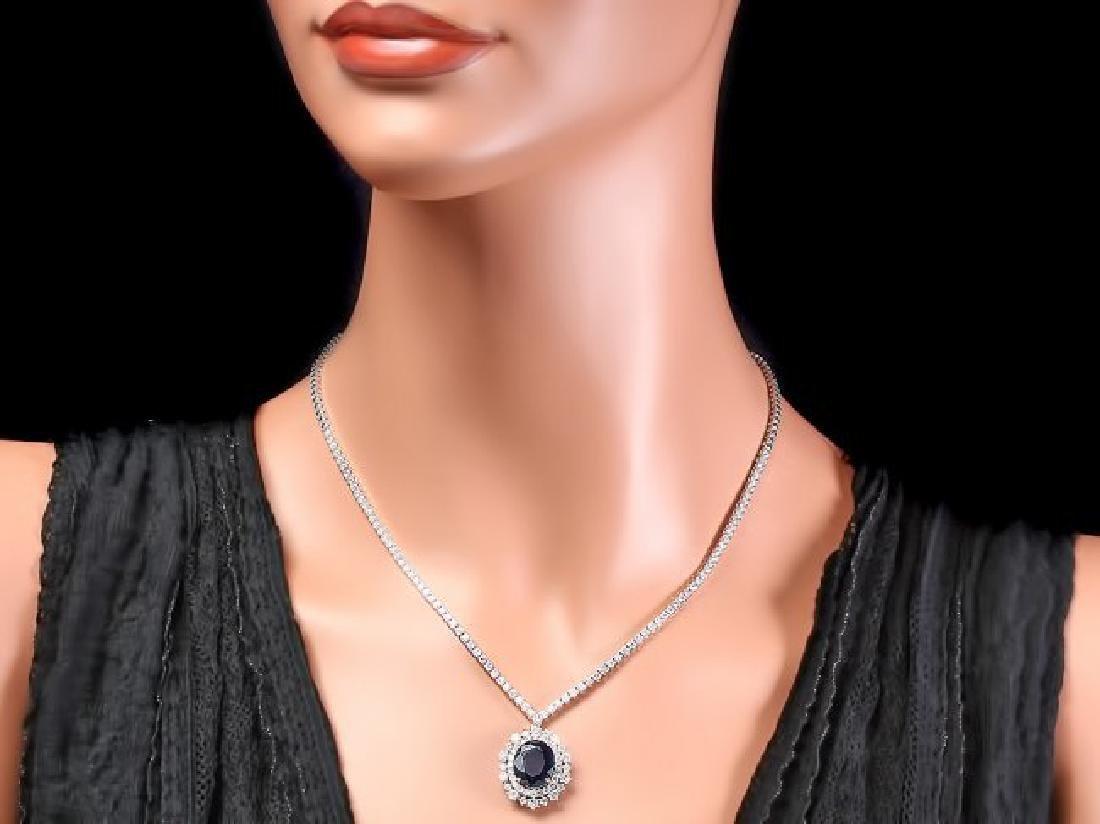 18k Gold 6ct Sapphire 5.00ct Diamond Necklace - 6