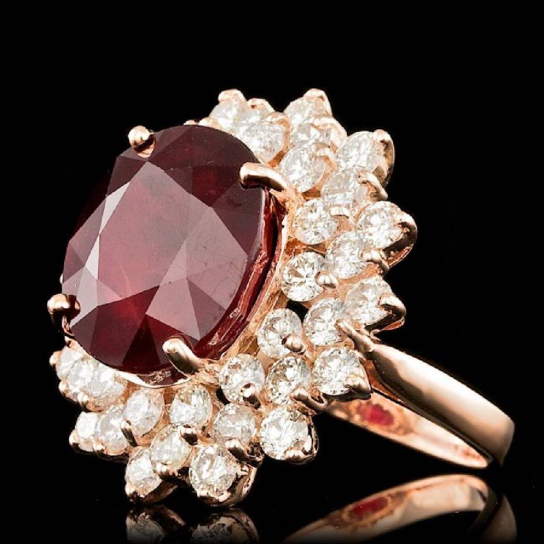 14k Rose Gold 13.00ct Ruby 3.20ct Diamond Ring - 2