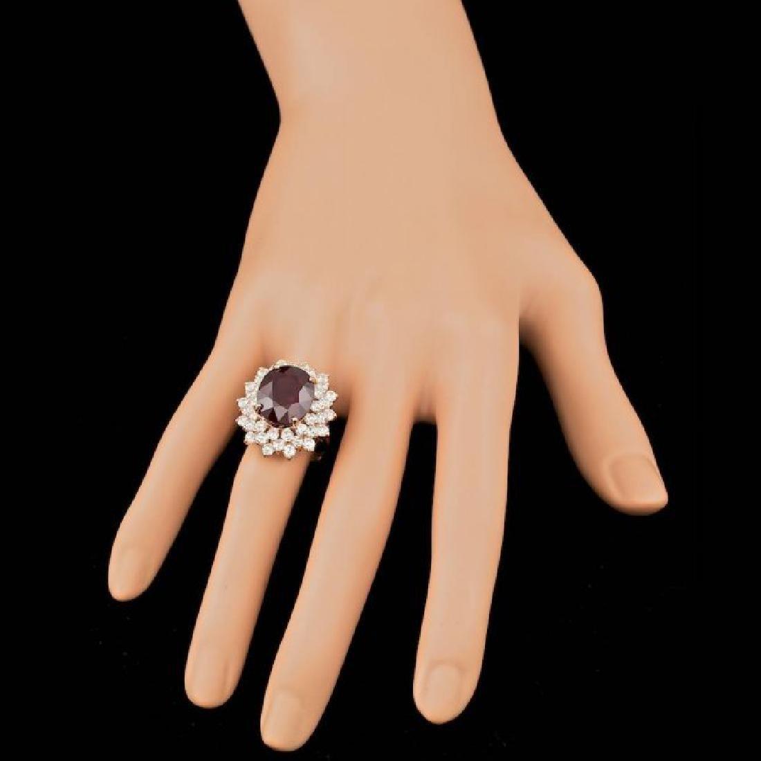 14k Rose Gold 13.00ct Ruby 3.20ct Diamond Ring - 3