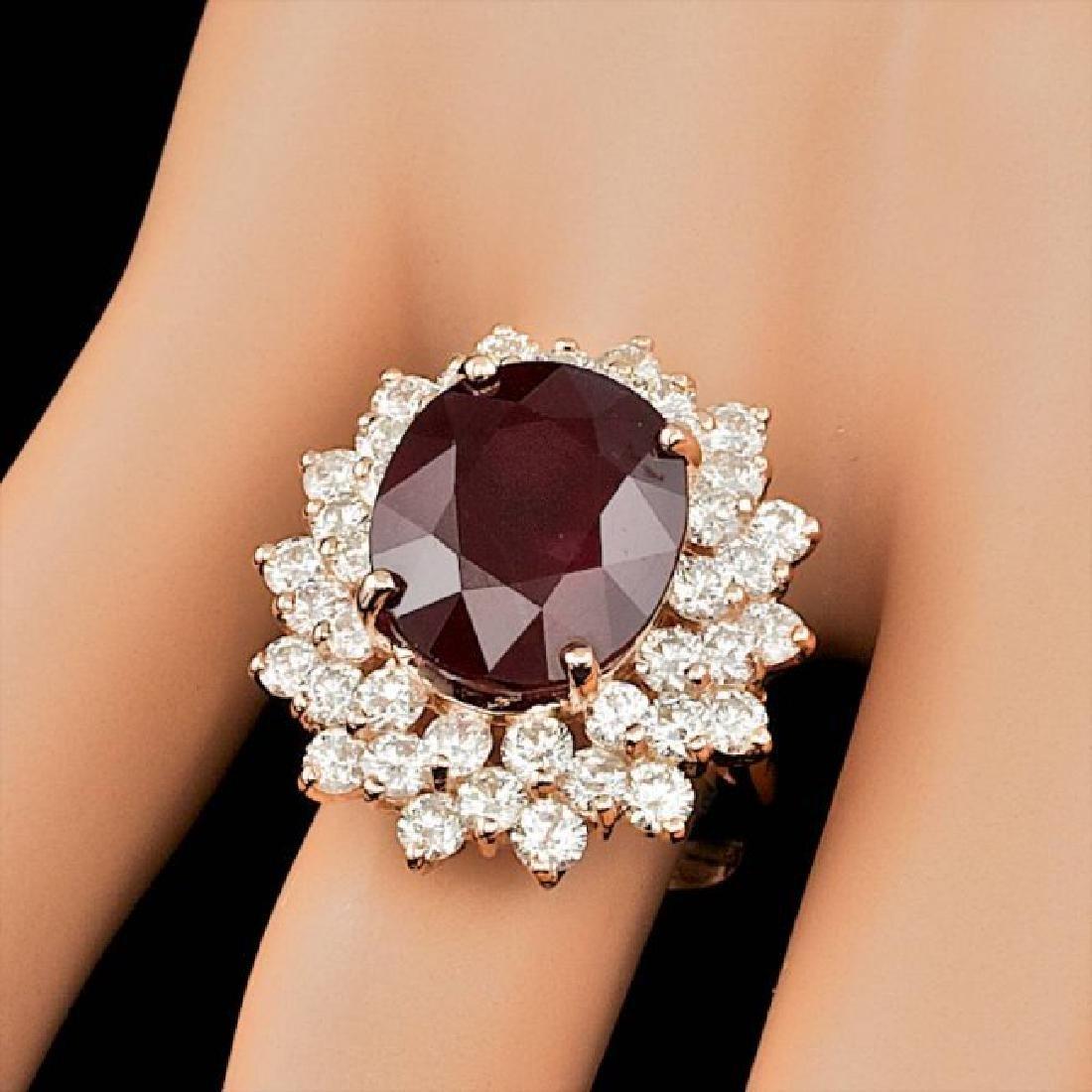 14k Rose Gold 13.00ct Ruby 3.20ct Diamond Ring - 4