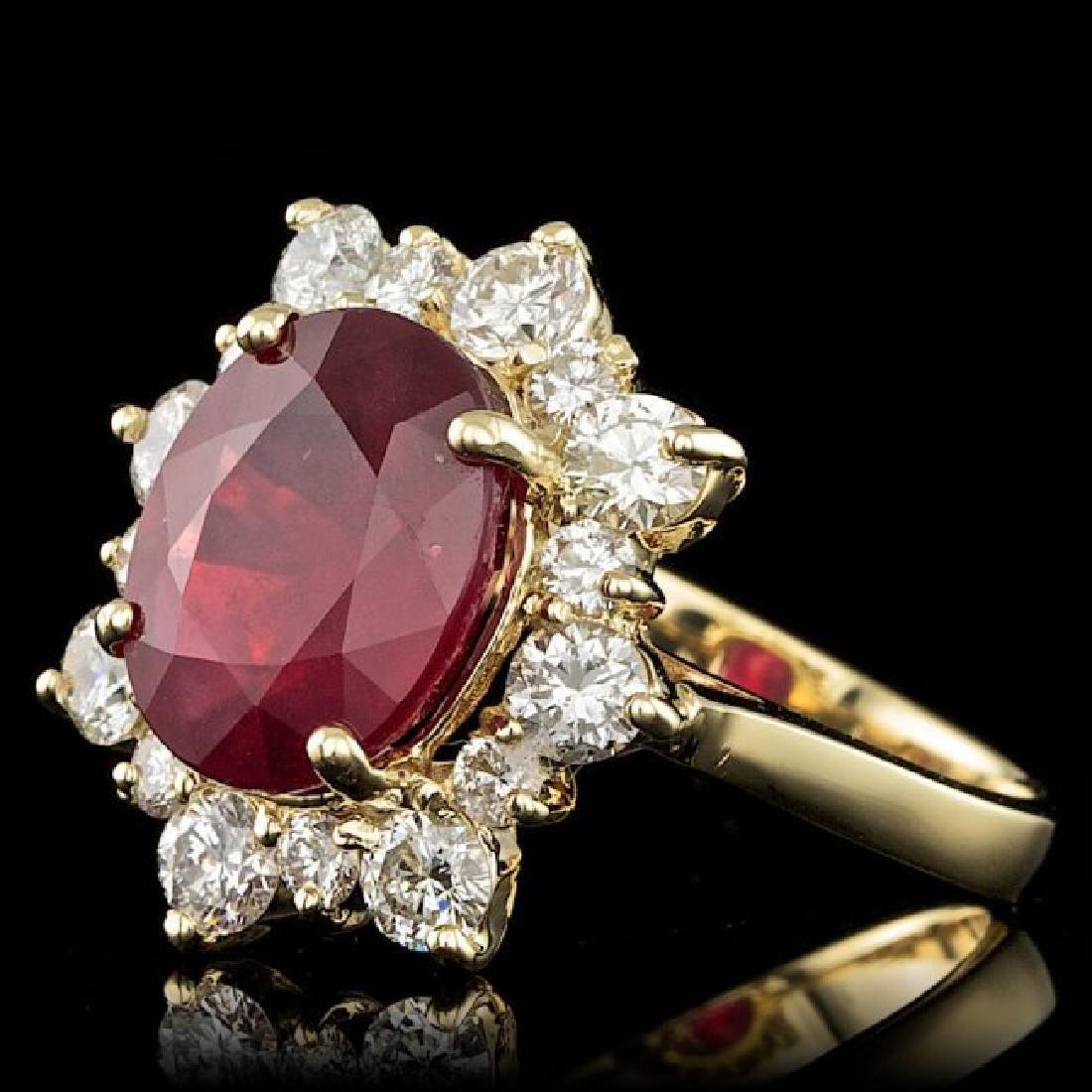 14k Yellow Gold 5.50ct Ruby 1.35ct Diamond Ring - 2