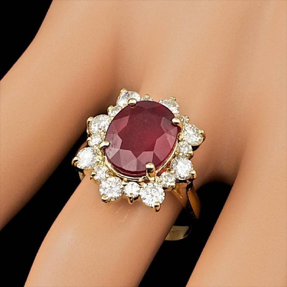 14k Yellow Gold 5.50ct Ruby 1.35ct Diamond Ring - 3