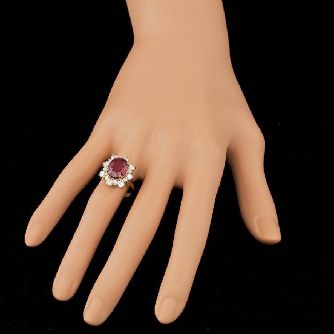 14k Yellow Gold 5.50ct Ruby 1.35ct Diamond Ring - 4