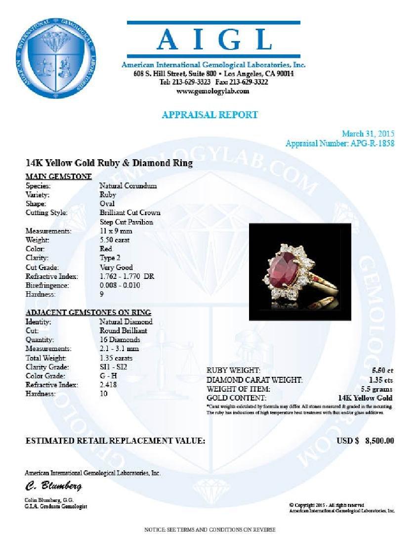 14k Yellow Gold 5.50ct Ruby 1.35ct Diamond Ring - 5