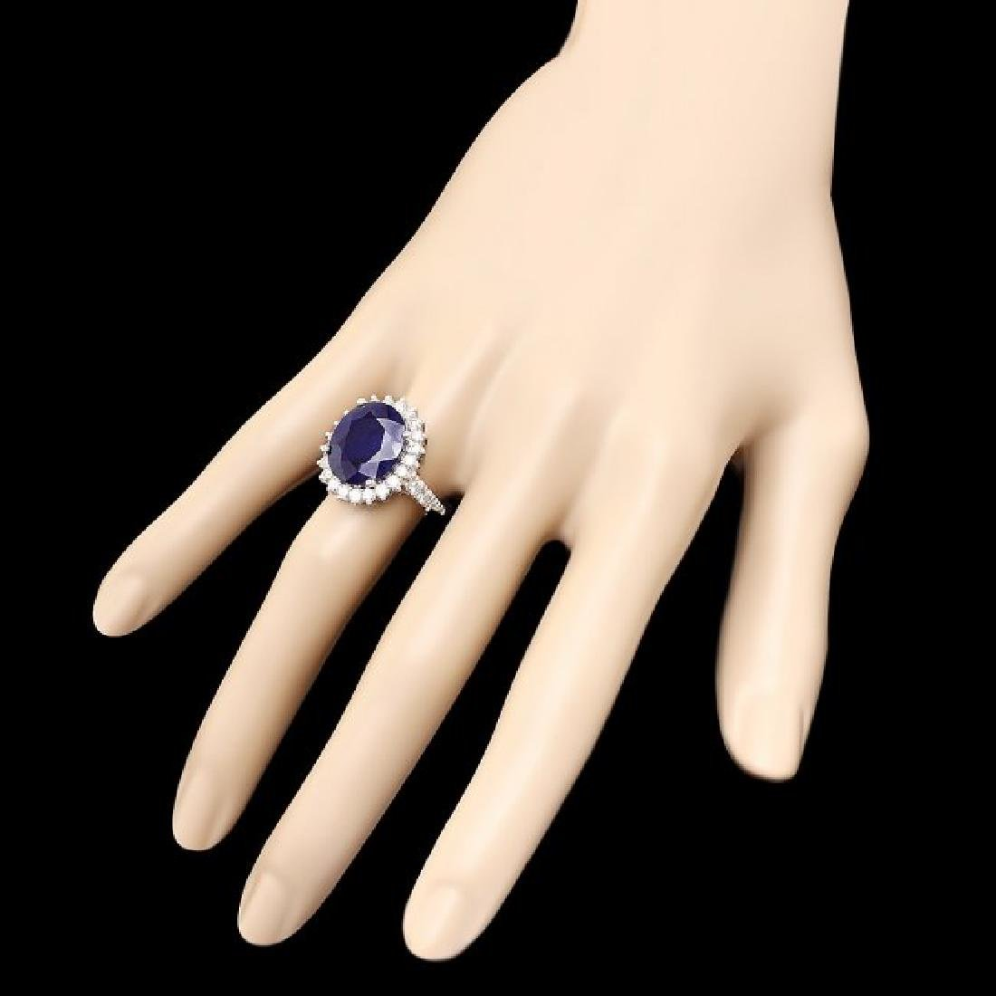 14k Gold 10.00ct Sapphire 1.30ct Diamond Ring - 3