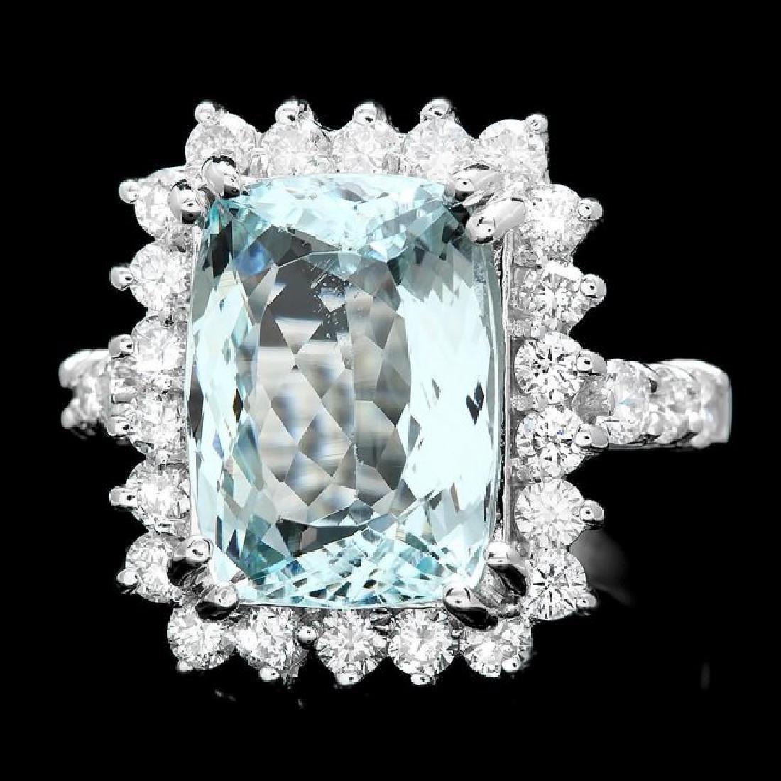 14k Gold 5.00ct Aquamarine 1.20ct Diamond Ring
