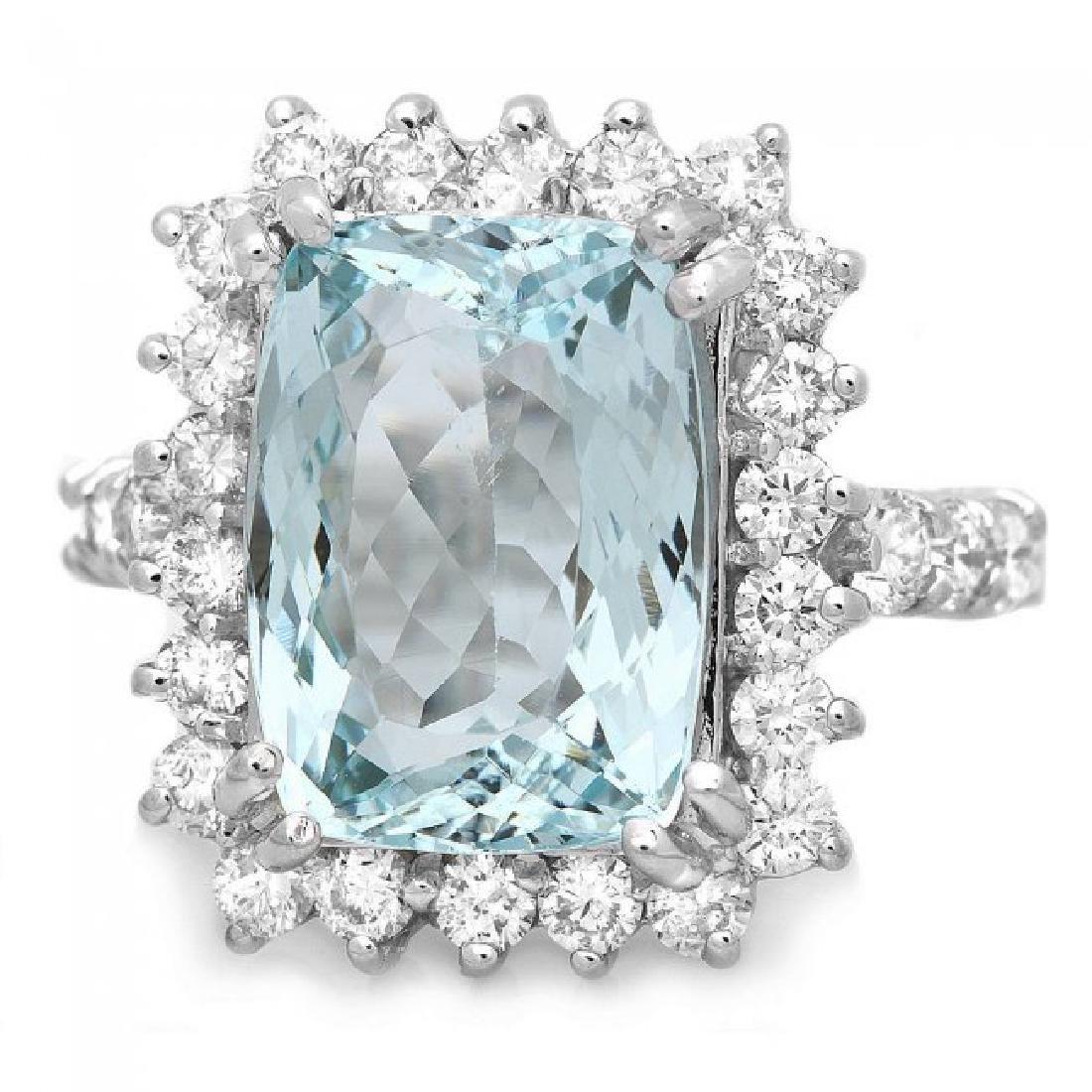 14k Gold 5.00ct Aquamarine 1.20ct Diamond Ring - 2