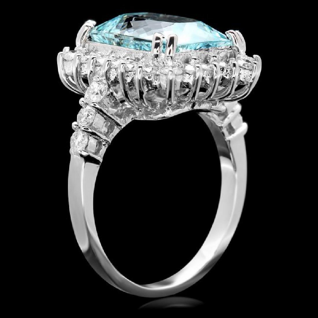 14k Gold 5.00ct Aquamarine 1.20ct Diamond Ring - 3