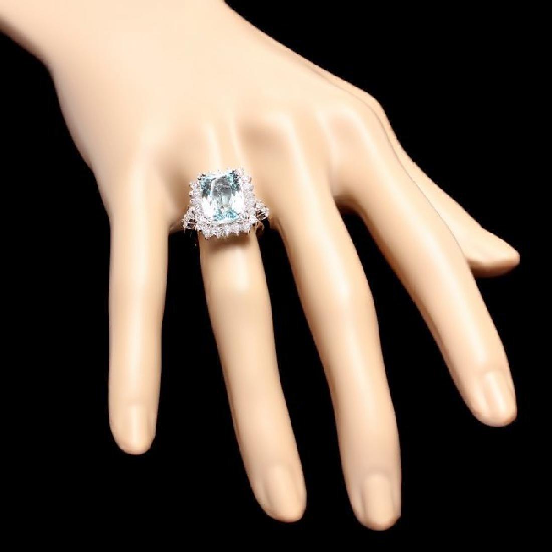 14k Gold 5.00ct Aquamarine 1.20ct Diamond Ring - 4