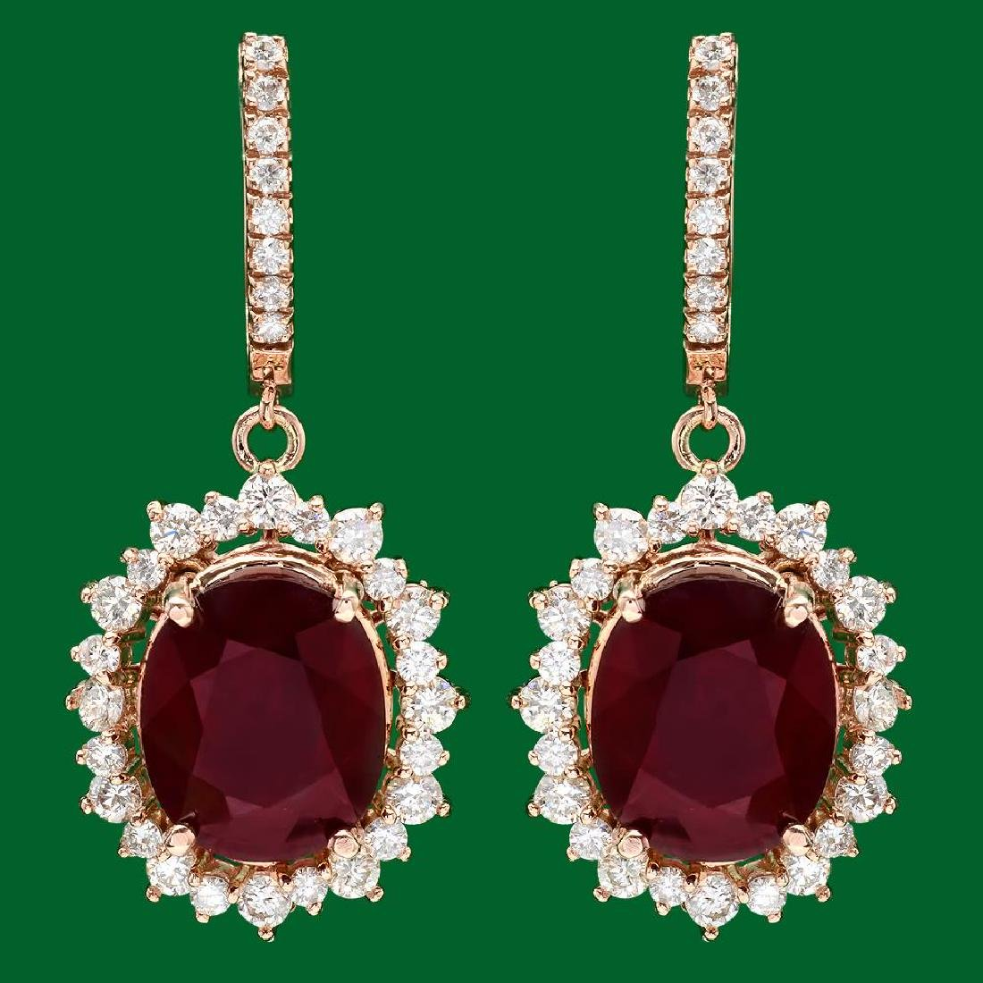 14k Gold 18.88ct Ruby 2.65ct Diamond Earrings