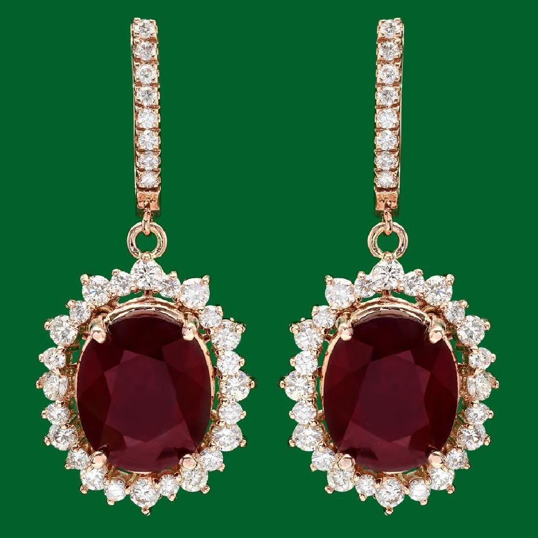 14k Gold 18.88ct Ruby 2.65ct Diamond Earrings